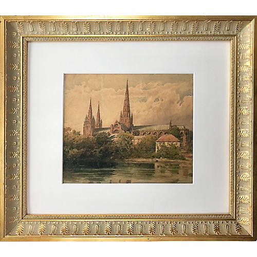 19th-C. Cathedral Watercolor by Haig