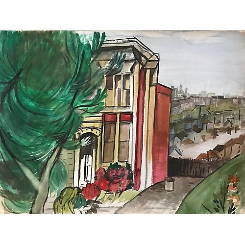 Watercolor of San Francisco Victorian