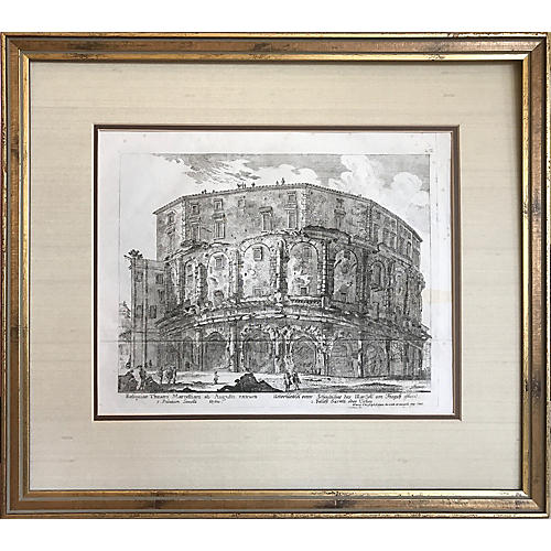 18th C Roman Ruins Engraving by Kilian