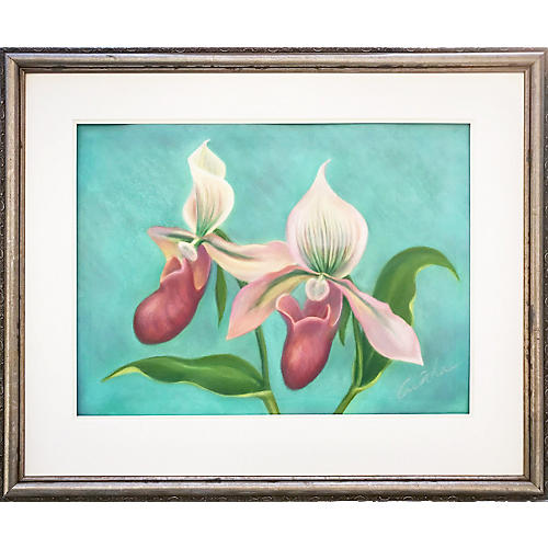 Original Orchid Pastel by Cunha