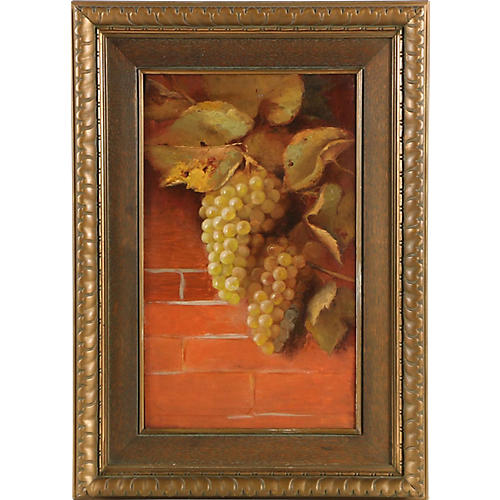 Oil Painting Still Life Wine Grapes 1910