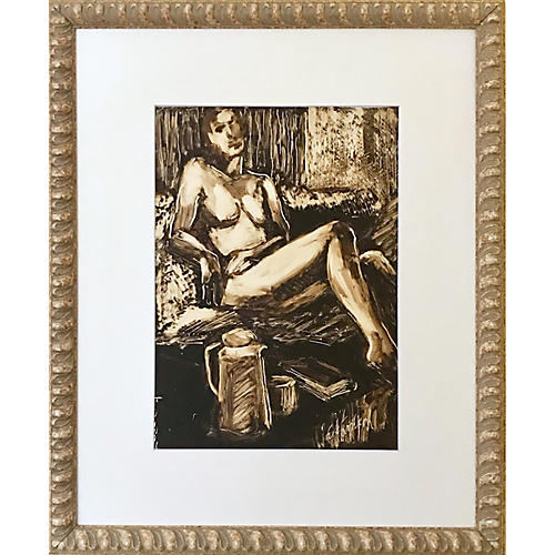 Modern Monotype of a Female Nude