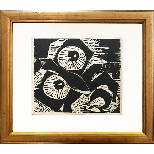 Abstract Expressionist Woodblock Print