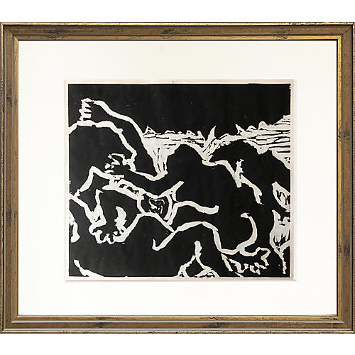 Abstract Expressionist Woodblock