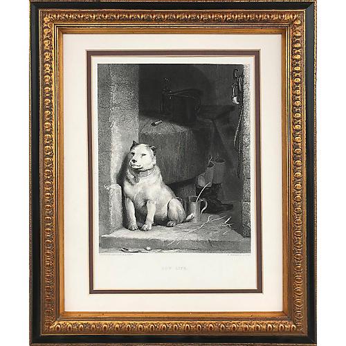 Landseer Dog Engraving, C.1880
