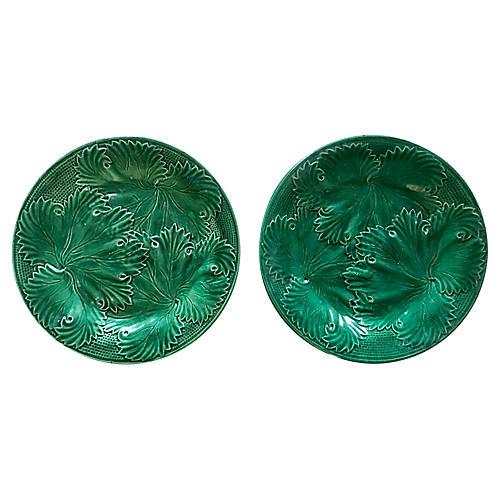 Majolica Cabbage Leaf Plates, S/2
