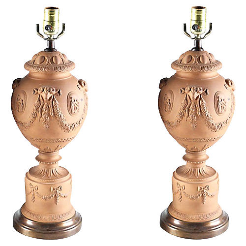 Neoclassical Terracotta Urn Lamps, S/2
