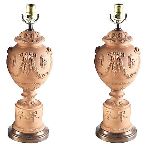 Neoclassical Terracotta Urn Lamps, S/2