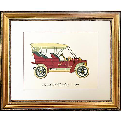 Vintage Lithograph 1907 Oldsmobile