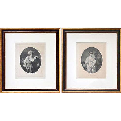 French Etchings of Portraits by Greuze