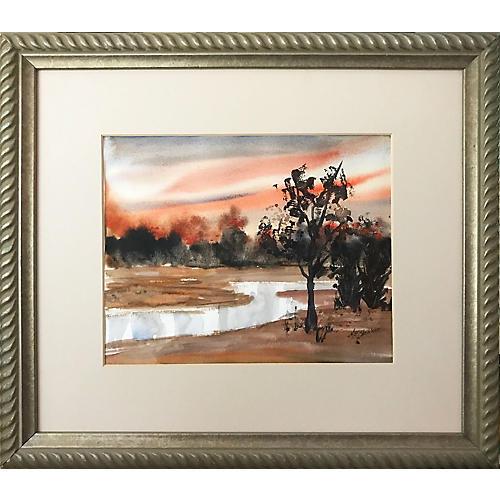Vintage Watercolor Sunset Landscape