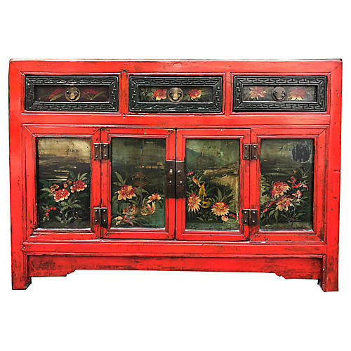 Antique Chinese Floral Painted Cabinet