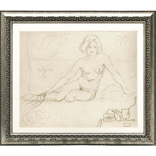 French Female Nude Pencil Drawing, 1930