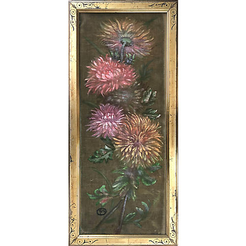Antique Still Life of Chrysanthemums