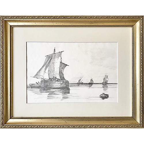 19th-C. French Graphite Ship Drawing