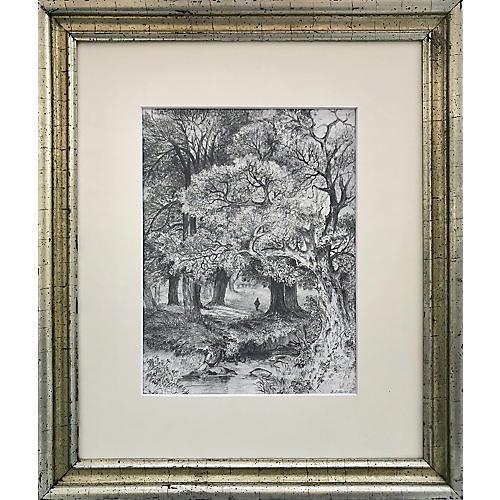 19th-C. Graphite Landscape Drawing