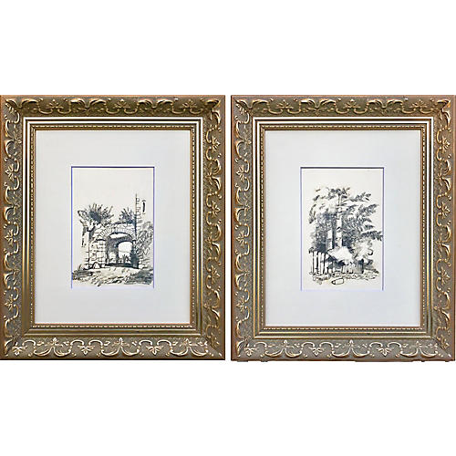 19th-C. French Landscape Drawings, Pair