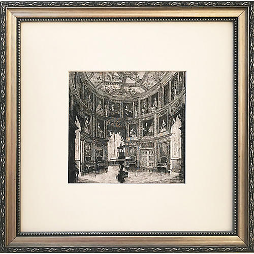 19th-C. French Chateau Interior Etching