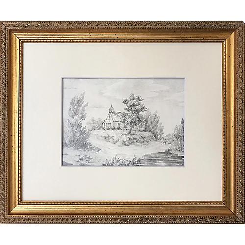 Antique Landscape Drawing w/ Church