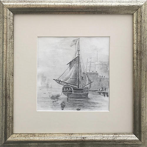 19th-C. Graphite Drawing of a Ship