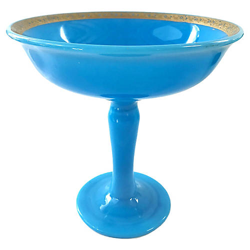 French Blue Opaline Compote