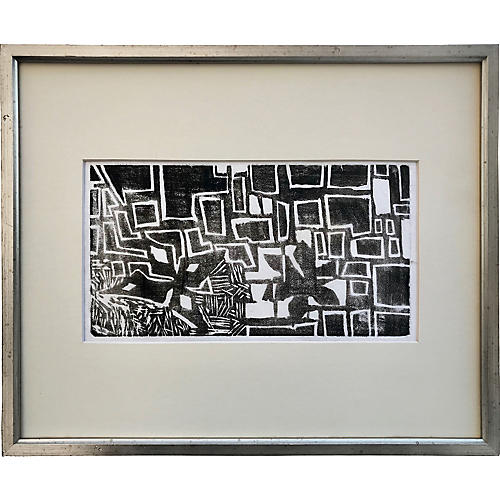 Mid-Century Modern Abstract Woodblock