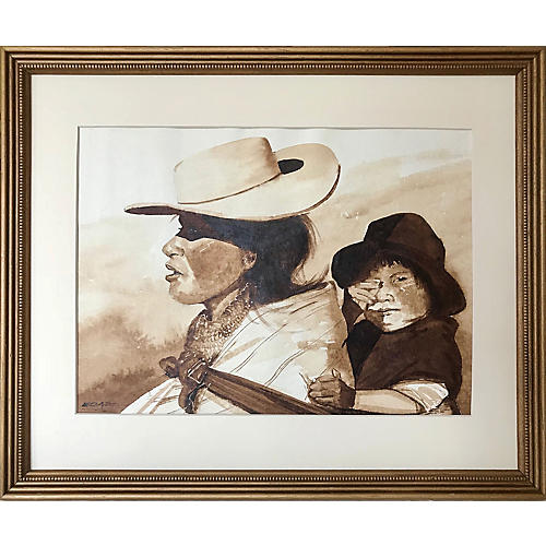 Watercolor of Indigenous Woman & Child