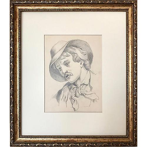 19th-C. Graphite Portrait
