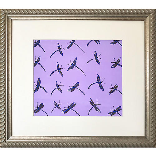 Mid-Century Modern Dragonfly Painting