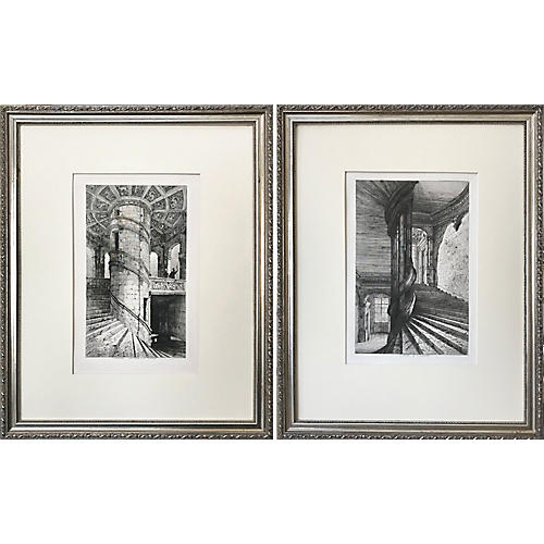 French Chateau Staircase Etchings, Pair