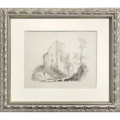 19th-C. English Castle Ruins Drawing