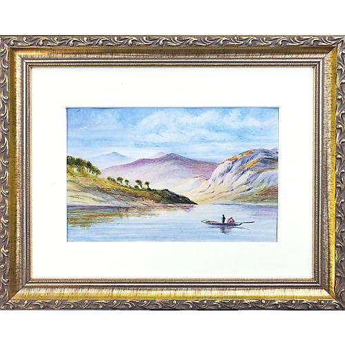 19th-C English Watercolor Landscape