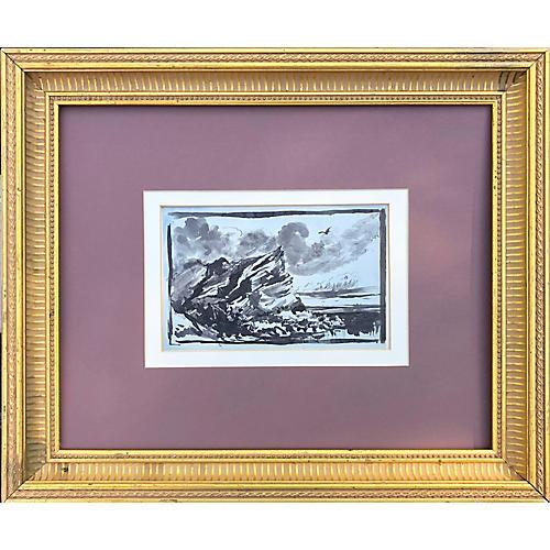 19th-C English Coastal Pen & Ink Drawing