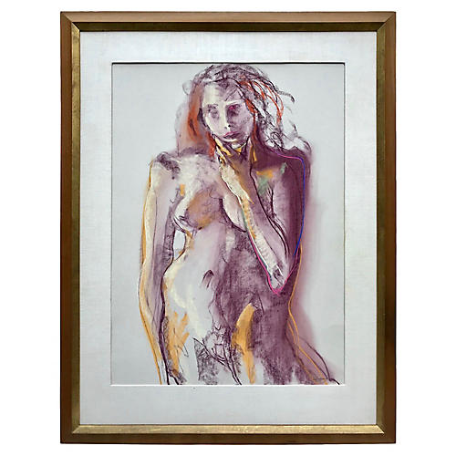 Modernist Female Nude Pastel by Haggerty