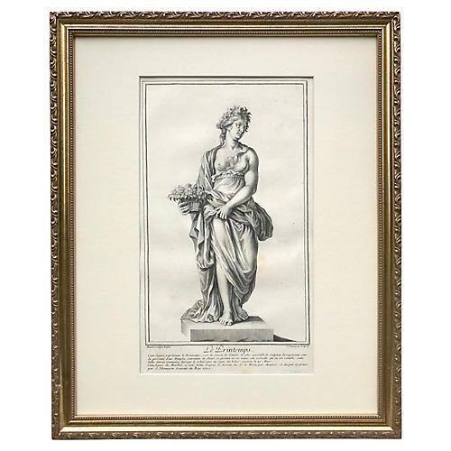 Italian Engraving 1702 Roman Statue