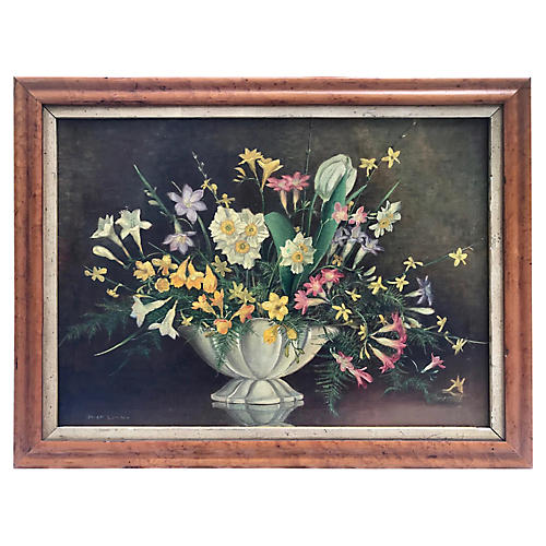 Antique Floral Still Life by O. Lunnon