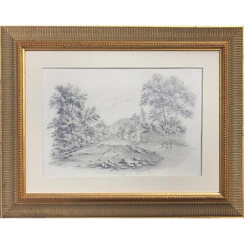 19th-C. English Landscape Drawing