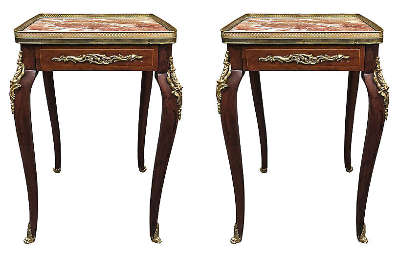 19th C. Louis XV Marble Top Side Tables