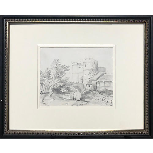 19th-C. English Castle Drawing