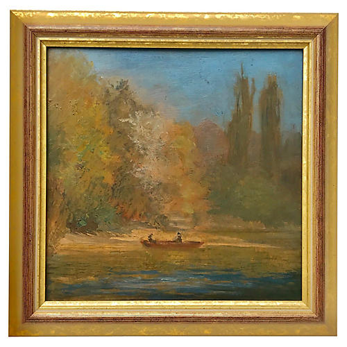 Oil Painting Central Park New York c1950