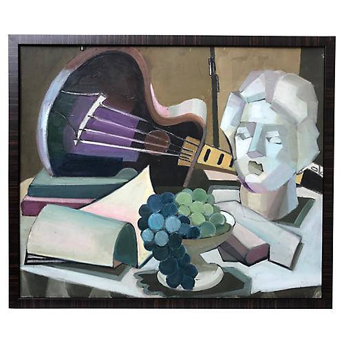 Vintage Modernist Cubist Oil Painting