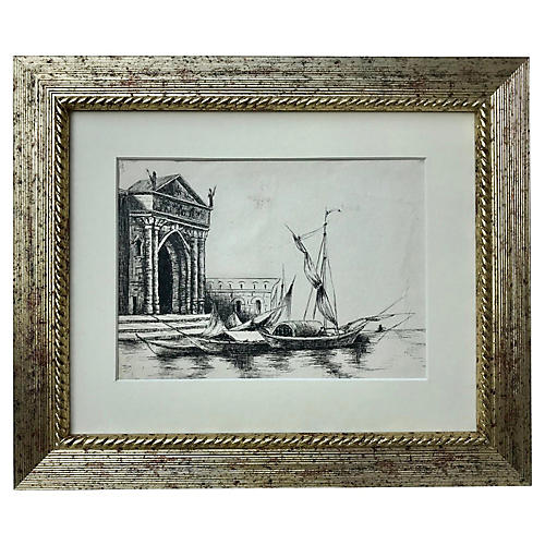 19th-C. Ink Drawing of Venice