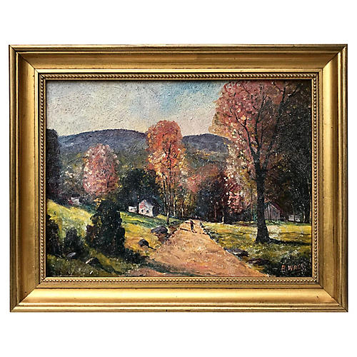 Oil Painting Fall Landscape A. Watts