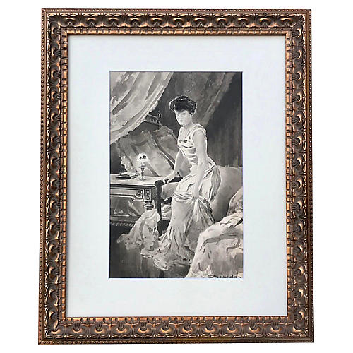Watercolor Painting of a Woman Boudoir