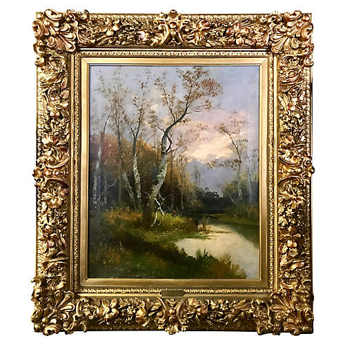 French Landscape Painting by T. Walter