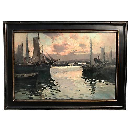 Harbor Naples Italy Oil Painting Mariani