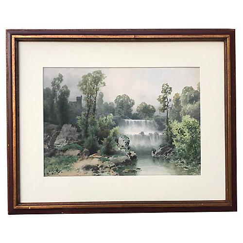 Italian Watercolor Landscape V. Blatter