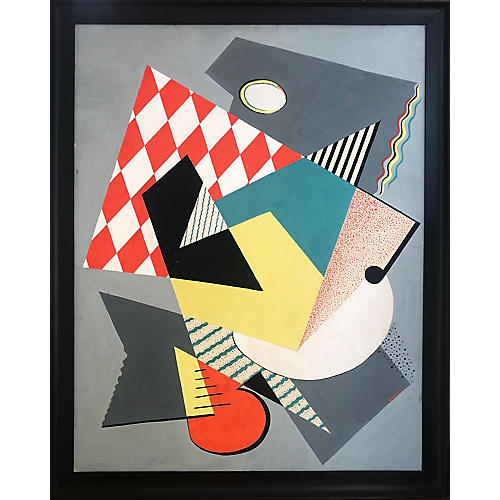 Large Vintage Cubist Abstract Painting