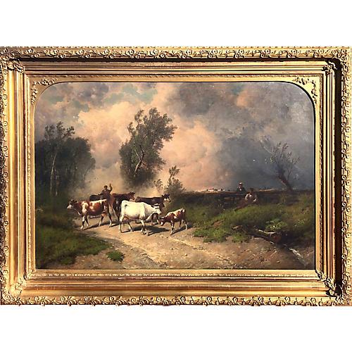 19th C Bucolic Landscape Oil Painting