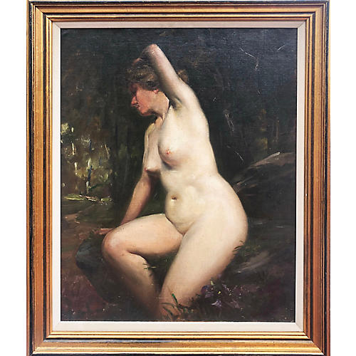 Oil Painting of Female Nude C. 1920
